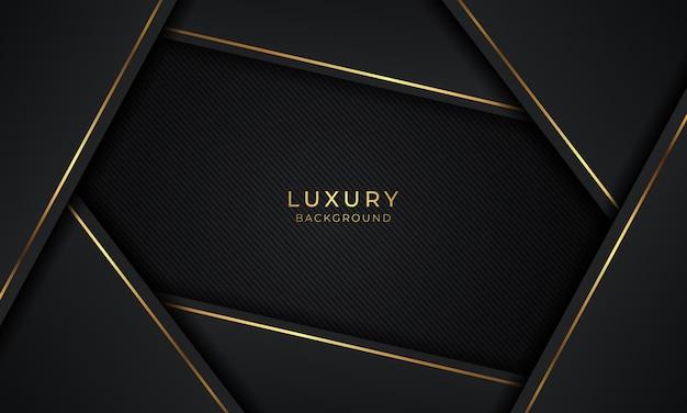 Luxus moderne schwarze hintergrundüberlappungsschicht mit goldenen linien
