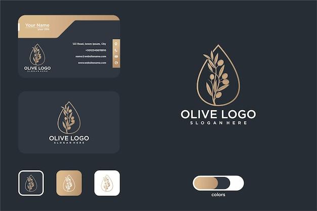 Luxus-olivenöl-logo-design und visitenkarte
