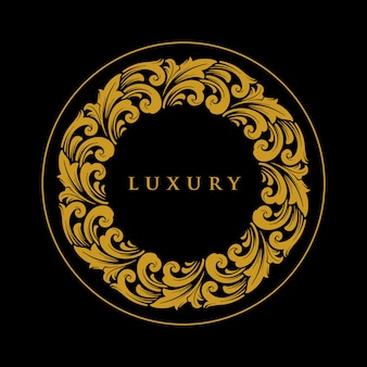 Luxus ornament circle gold logo emblem