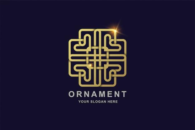 Luxus ornament linie kunst gold farbe logo vorlage