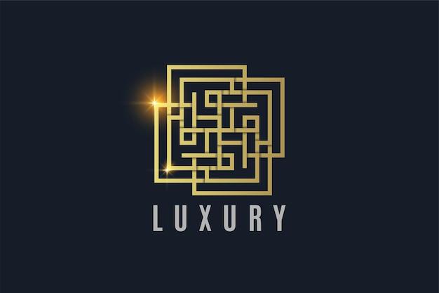 Luxus-ornament-linie kunst goldfarbene logo-vorlage logo