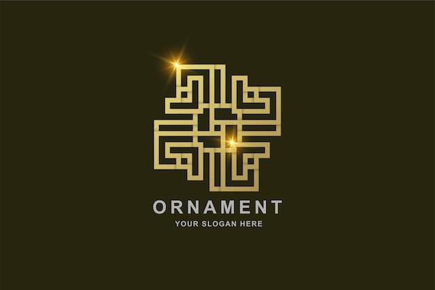 Luxus-ornament-linien-kunst-goldfarbe-logo-vorlage