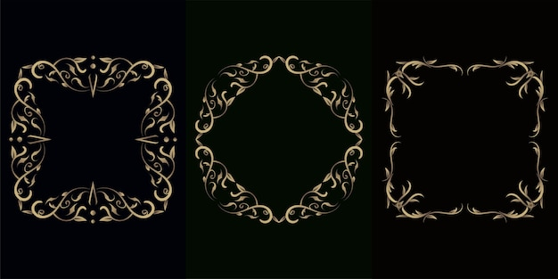 Luxus ornament oder blumenrahmen set kollektion.