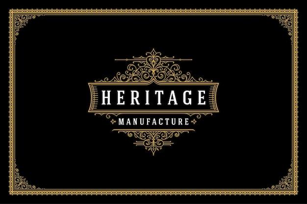 Luxus ornament vintage logo template design vector illustration. kalligraphisch verzierte vignetten der königlichen marke, die sich gut für das logo von boutiquen oder restaurants eignen.