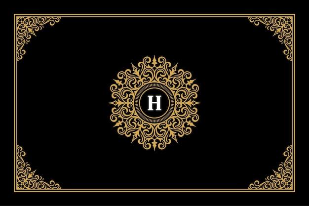 Luxus ornament vintage monogramm logo brief template design vector illustration. kalligraphisch verzierte vignetten der königlichen marke, die sich gut für das logo von boutiquen oder restaurants eignen.