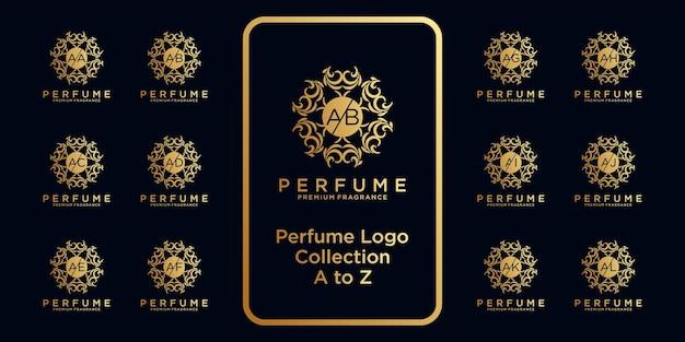 Luxus-parfüm-logo-kollektion mit anfänglichem konzept.