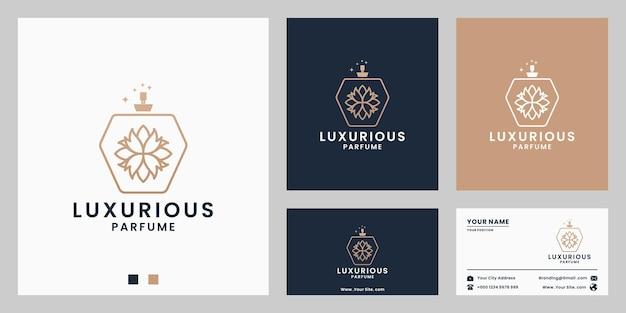 Luxus-parfümflasche mit blumen-rose-ornament-logo-design