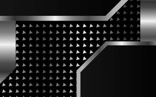 Luxus premium dunklen abstrakten vektor hintergrund. überlappende ebenen mit papiereffekt. digitale vorlage. realistischer lichteffekt auf strukturierten dreieckigen silbernen hintergrund.