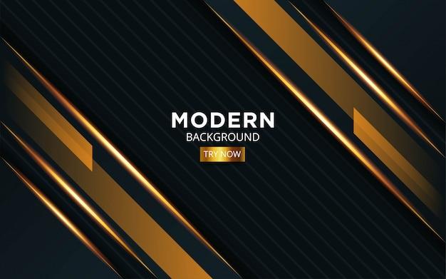 Luxus premium schwarz und gold hintergrund banner design mit goldener linie in streifen textur.
