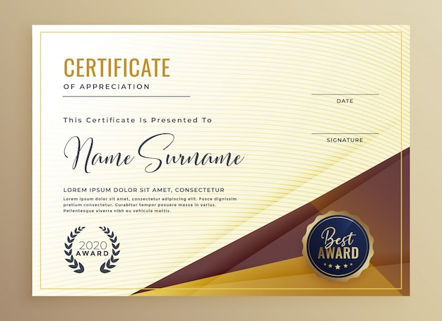 Luxus-premium-zertifikat-design-vorlage