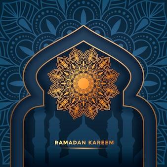 Luxus ramadan kareem mandala hintergrund, grußkarte