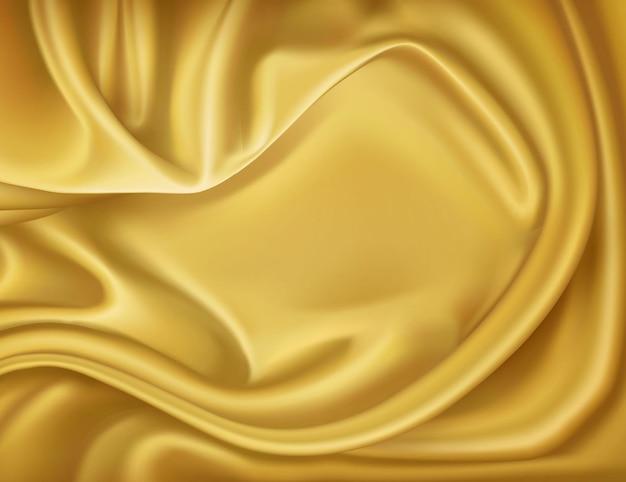 Luxus realistische goldene seide satin drapieren textil hintergrund. elegantes, glänzendes, glattes material mit wellen.