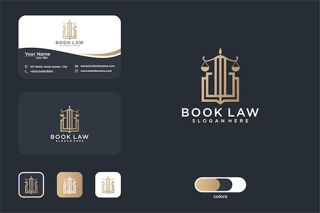 Luxus-rechtsbuch-logo-design und visitenkarte