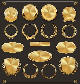 Luxus retro abzeichen gold und silber kollektion