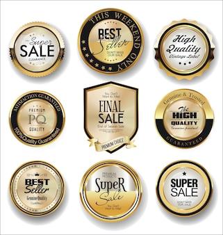 Luxus retro abzeichen und etiketten sammlung