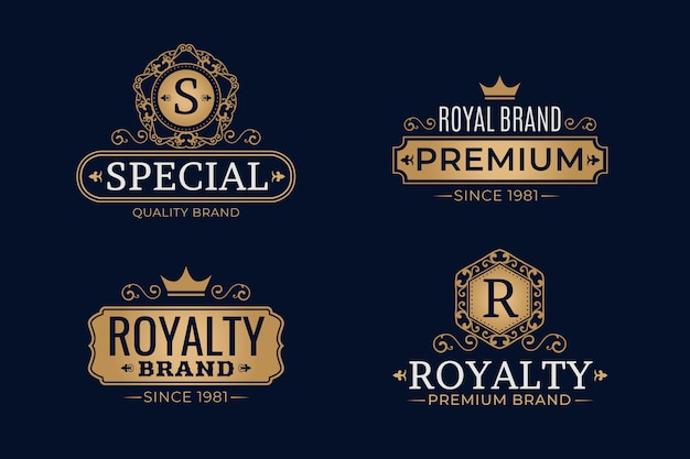 Luxus retro logo vorlage festgelegt