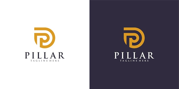 Luxus-säulen-logo für illustrationsdesign der anwaltskanzlei.
