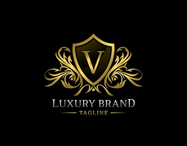 Luxus schild v brief logo.