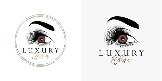Luxus-schönheits-wimpern-logo-schablone