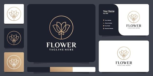 Luxus-schönheitsblumen-spa-salon-logo-design-elemente