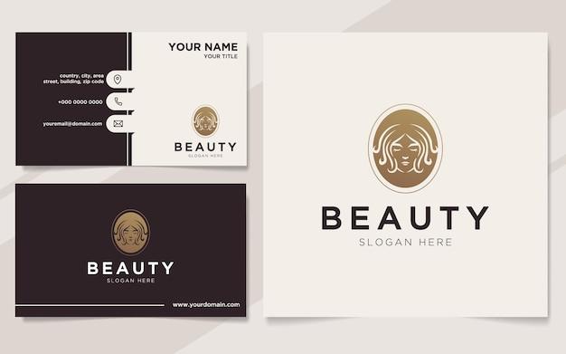 Luxus-schönheitsfrauen-logo und visitenkartenvorlage