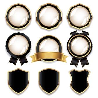 Luxus schwarz-goldene blanko-abzeichen-kollektion