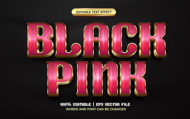 Luxus schwarz rosa gold 3d bearbeitbare texteffekt-stilvorlage