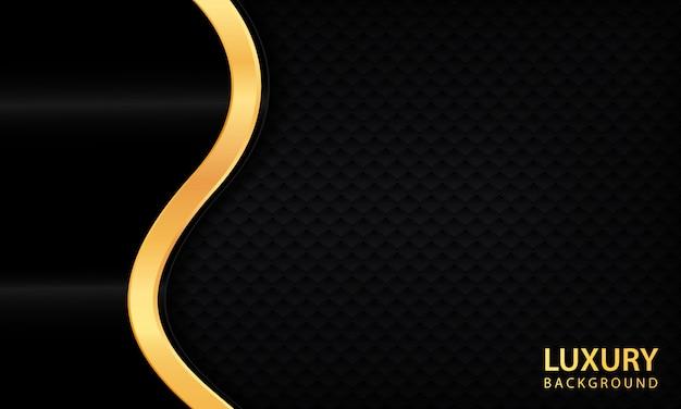 Luxus schwarzen abstrakten hintergrund. strukturiert mit realistischer goldener linie.