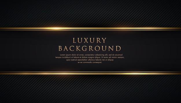 Luxus schwarzer streifen mit goldrand auf dem dunklen diagonalen linienbeschaffenheitshintergrund.