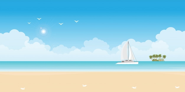Luxus-segelschiffyacht im blauen meer.