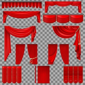 Luxus-set aus roten samt-seidenvorhängen. auf transparentem hintergrund isoliert.