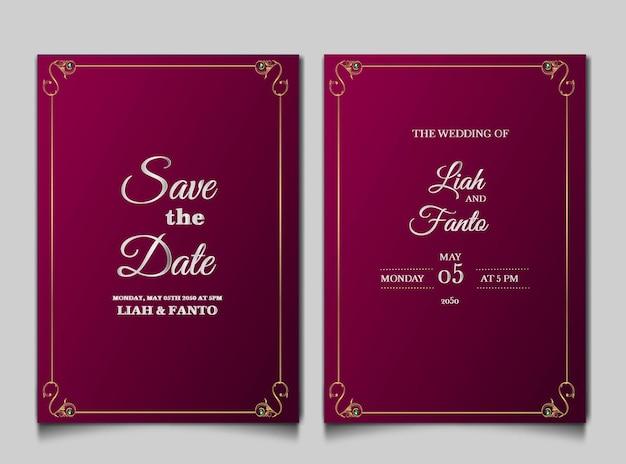 Luxus speichern sie das datum hochzeitseinladungskartenset