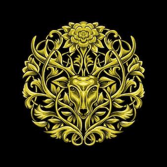 Luxus-symbolillustration des goldenen hirsches