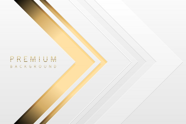 Luxus-tech-hintergrund. weiße papiermateriallage mit goldstreifen. lichttapete der goldenen form des pfeiles