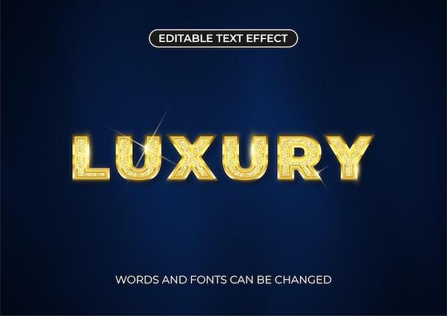 Luxus-text-effekt. bearbeitbarer goldtext mit glitzer und glänzendem glanz auf dunkelblauem hintergrund