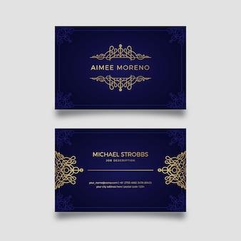 Luxus-thema für visitenkartenschablone