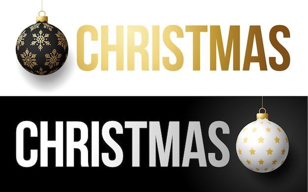 Luxus trendige goldtypografie weihnachten auf einem hintergrund mit weihnachtsball. typografie mit realistischem 3d-baumspielzeug für die von flyern, broschüren, faltblättern, plakaten und kartenillustration