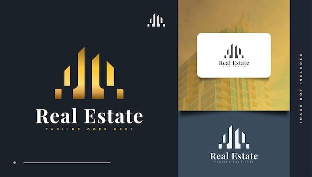 Luxus und abstraktes gold-immobilien-logo-design. bau-, architektur- oder gebäudelogo