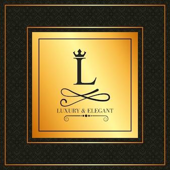 Luxus und elegante l schriftart krone schmuck heraldische emblem