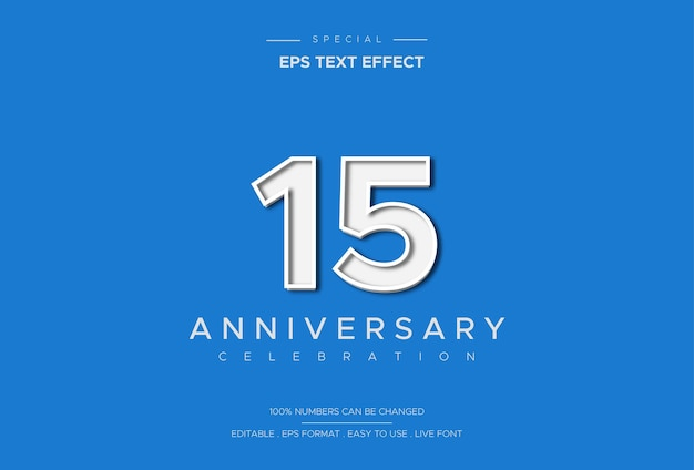 Luxus und eleganter texteffekt des fünfzehnjährigen jubiläums auf weißer zahl auf blauem hintergrund