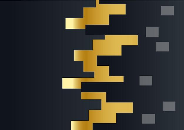 Luxus-unternehmenshintergrund, abstrakte dekoration, goldenes muster, halbtonverläufe, 3d-vektor-illustration. schwarzgold-cover-vorlage, geometrische formen, modernes minimalistisches business-banner