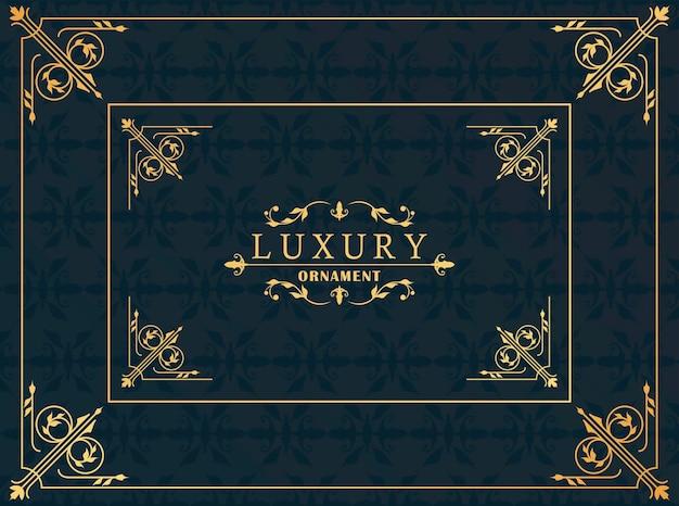 Luxus viktorianischen stil des goldenen rahmens im schwarzen hintergrund