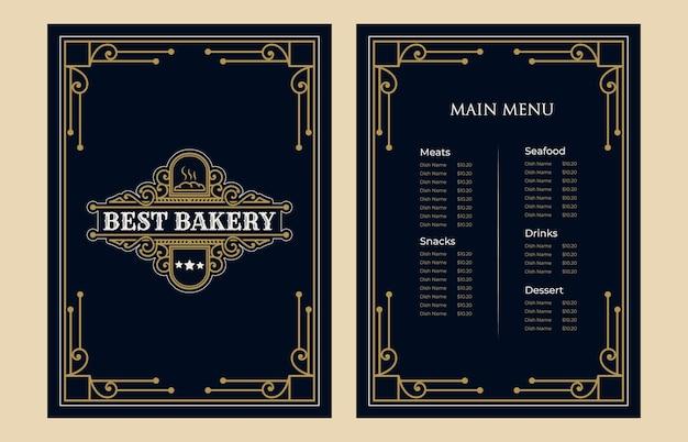 Luxus-vintage-bäckerei-lebensmittel-menükarten-vorlage mit logo für hotel-café-bar-café