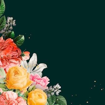 Luxus-vintage-blumen-grenzaquarell auf grünem hintergrund