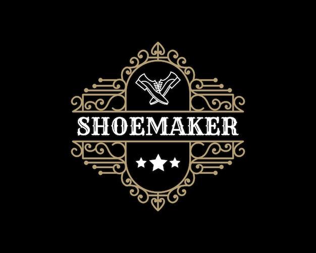 Luxus vintage leder schuhmacher schuhreparatur shop labels oder logo für mann frau schuhe marke