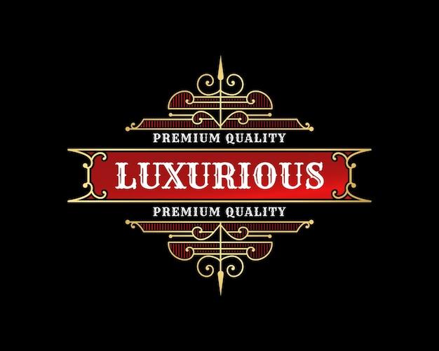 Luxus-vintage-logo-emblem mit dekorativem zierrahmen für restaurant-café-hotel-barbershop