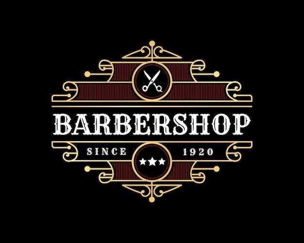 Luxus-vintage-logo-emblem mit zierrahmen für friseursalon schönheitssalon spa und boutique-marke