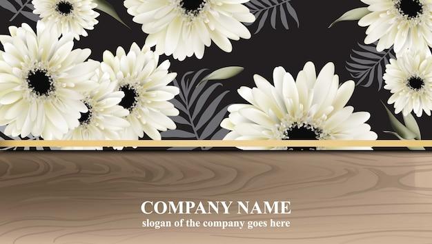 Luxus-visitenkarte mit gerber daisy blüht vektor-illustration. abstrakte holz hintergründe
