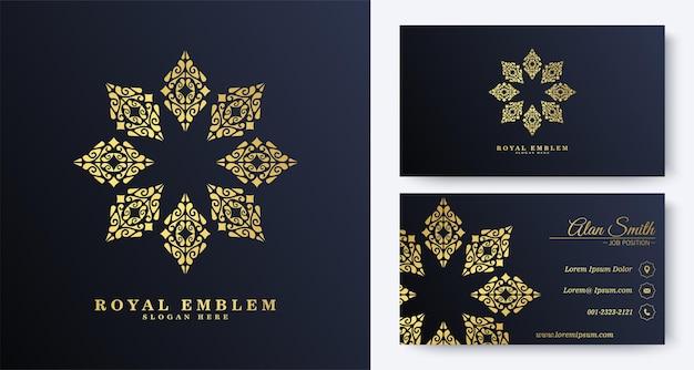 Luxus-visitenkarte mit verzierungslogo