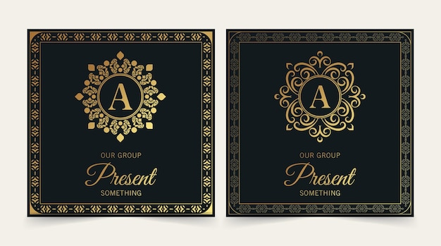 Luxus-visitenkarte und vintage-ornament-logo-vektor-vorlage. retro-elegantes blüht dekoratives rahmendesign und musterhintergrund.